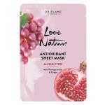 Антиоксидантная тканевая маска с гранатом и виноградом Love Nature